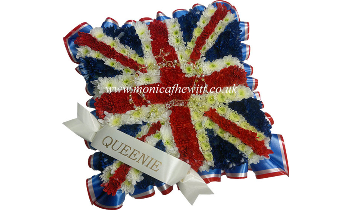 Union Jack Cusion Funeral Flowers