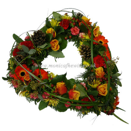 Autumn Pine Open Heart Funeral Flowers