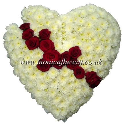 Broken Heart with Roses Funeral Tribute