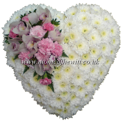 Cushion Heart with Cluster Funeral Arrangement